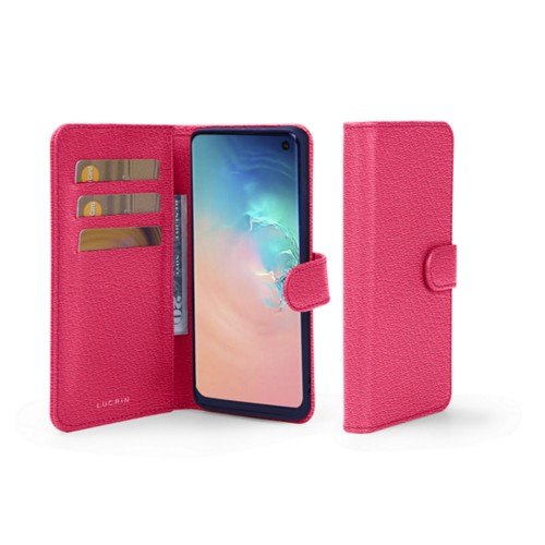 Samsung Galaxy S10e Wallet Case - Fuchsia  - Goat Leather