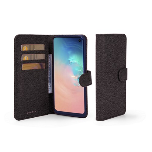 Portemonneehoesje voor de Samsung Galaxy S10e - Donkerbruin - Geitenleer