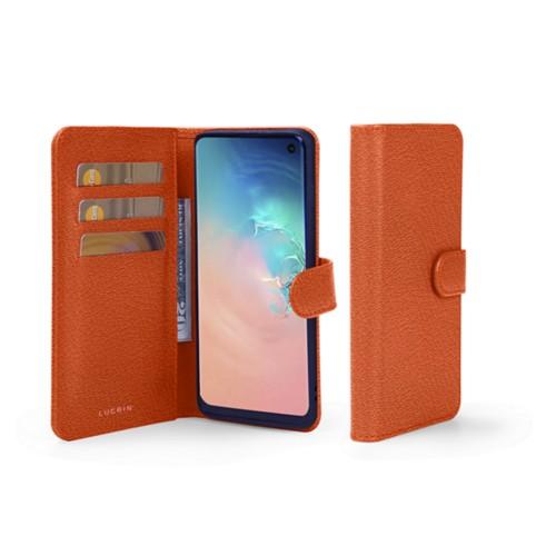 Samsung Galaxy S10e Wallet Case - Orange - Goat Leather
