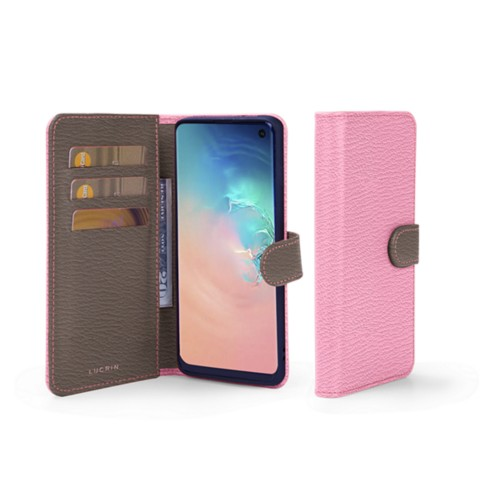 Samsung Galaxy S10e ウォレットケース - Pink-Dark Taupe - Goat Leather