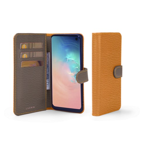 Samsung Galaxy S10e Wallet Case - Saffron-Dark Taupe - Goat Leather