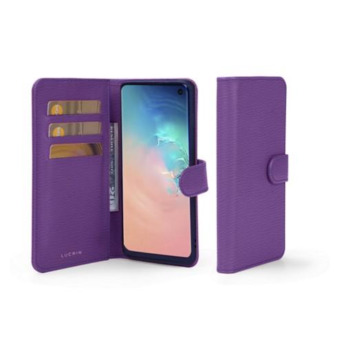 Portemonneehoesje voor de Samsung Galaxy S10e - Paars - Geitenleer