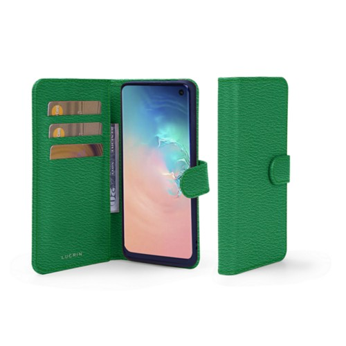 Samsung Galaxy S10e Wallet Case - Light Green - Goat Leather