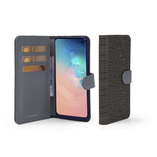 Samsung Galaxy S10e Wallet Case - Mouse-Grey - Crocodile style calfskin