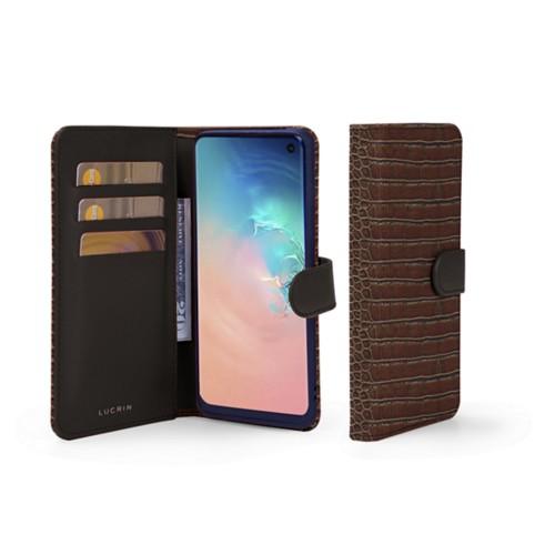 Portemonneehoesje voor de Samsung Galaxy S10e - Donkerbruin - Krokodilstijl Kalfsleer