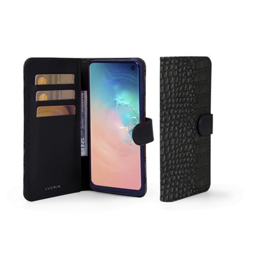 Samsung Galaxy S10e Wallet Case - Black - Crocodile style calfskin