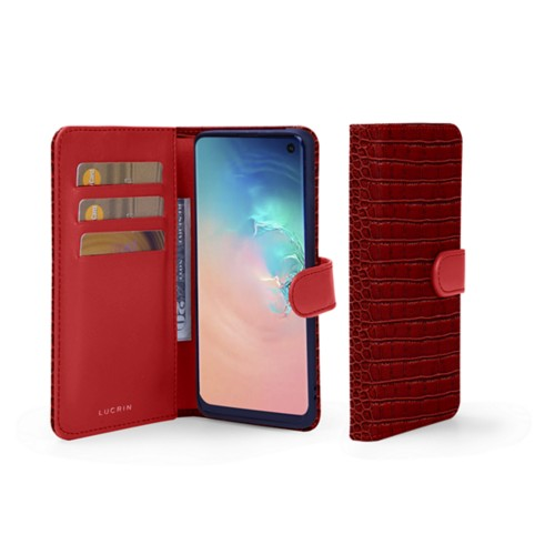Samsung Galaxy S10e Wallet Case - Red - Crocodile style calfskin