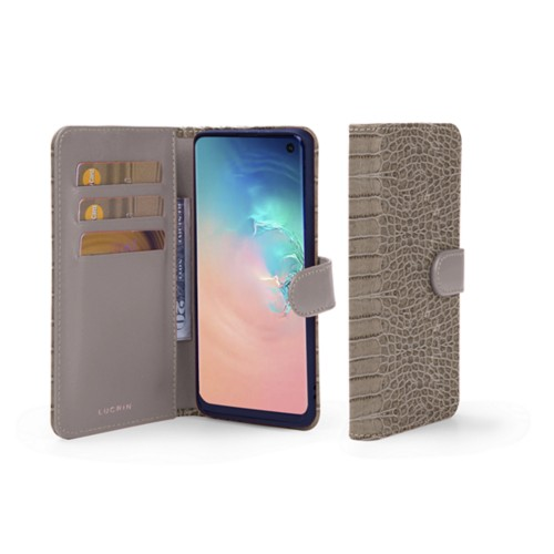Samsung Galaxy S10e Wallet Case - Light Taupe - Crocodile style calfskin