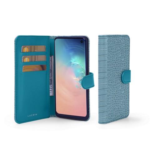 Samsung Galaxy S10e Wallet Case - Turquoise - Crocodile style calfskin