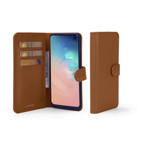 Samsung Galaxy S10e Wallet Case - Tan - Smooth Leather