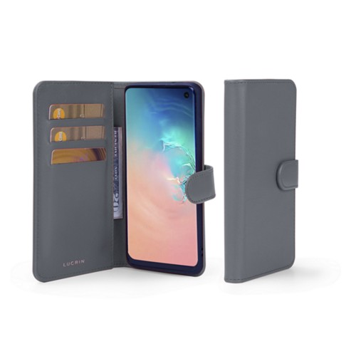 Samsung Galaxy S10e Wallet Case - Mouse-Grey - Smooth Leather