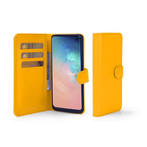 Samsung Galaxy S10e Wallet Case - Sun Yellow - Smooth Leather