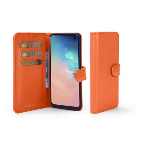 Samsung Galaxy S10e Wallet Case - Orange - Smooth Leather