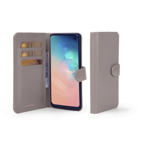 Samsung Galaxy S10e Wallet Case - Light Taupe - Smooth Leather