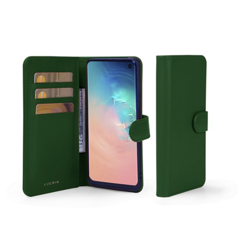 Samsung Galaxy S10e Wallet Case - Dark Green - Smooth Leather
