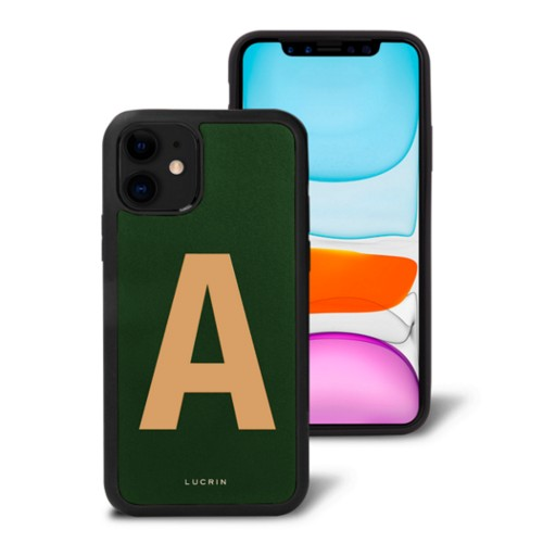 Custom iPhone 11 Case - Dark Green-Natural - Smooth Leather