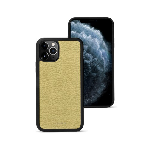 Coque iPhone 11 Pro - Jaune moutard - Cuir Grainé