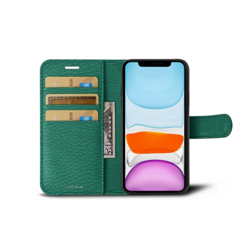 iPhone 11 Wallet Case - Emerald - Granulated Leather