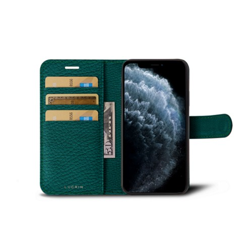 iPhone 11 Pro Wallet Case - Avocado - Granulated Leather