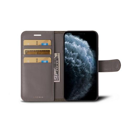 Funda cartera para iPhone 11 Pro Max - Taupe Luz - Piel Coco Grabado