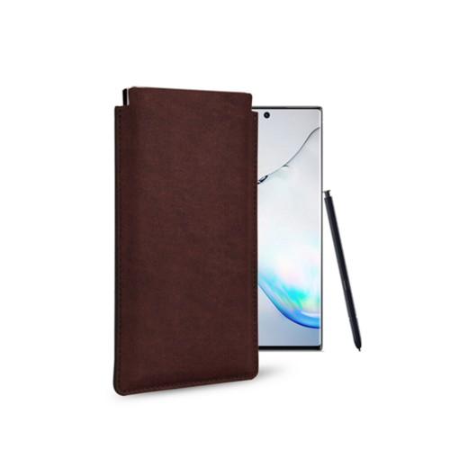 Klassiek Hoesje voor Samsung Galaxy Note 10 - Donkerbruin - Plantaardig gelooid leer