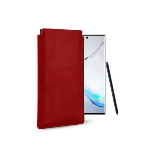Klassiek Hoesje voor Samsung Galaxy Note 10 - Karmijnrood - Plantaardig gelooid leer
