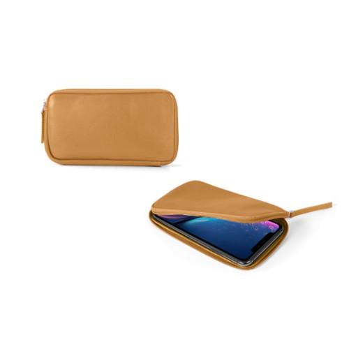 Reißverschlussetui für iPhone XR - Ocker - Glattleder