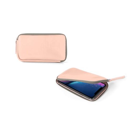 Reißverschlussetui für iPhone XR - Nude - Glattleder