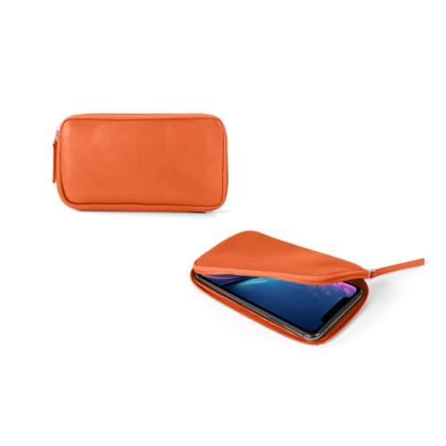 Reißverschlussetui für iPhone XR - Orange - Glattleder