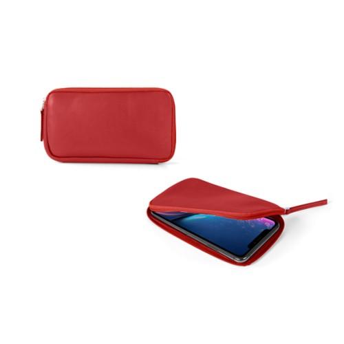 Reißverschlussetui für iPhone XR - Rot - Glattleder
