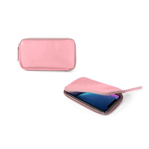 Reißverschlussetui für iPhone XR - Rosa - Glattleder