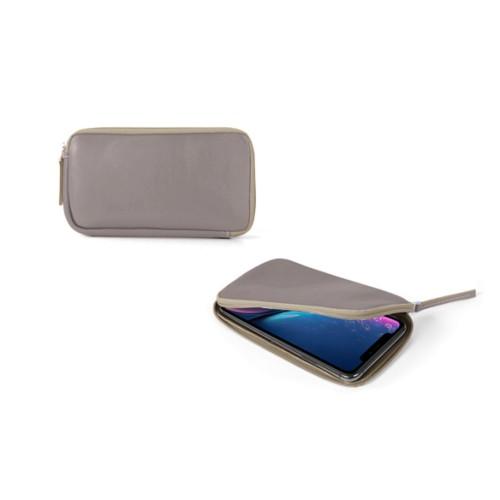 Reißverschlussetui für iPhone XR - Hellbraun - Glattleder