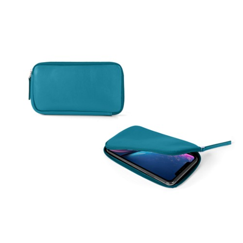 Reißverschlussetui für iPhone XR - Türkisblau - Glattleder