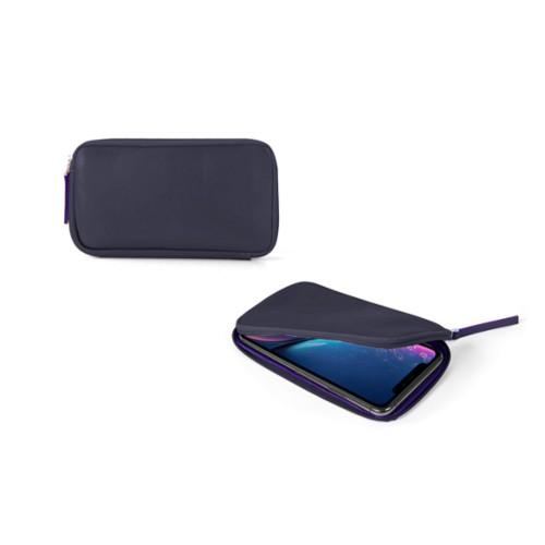 Reißverschlussetui für iPhone XR - Violett - Glattleder