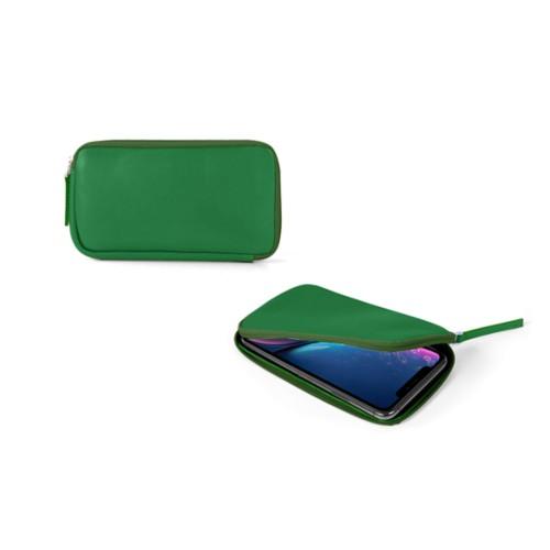 Reißverschlussetui für iPhone XR - Hellgrün - Glattleder