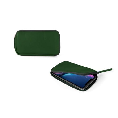 Reißverschlussetui für iPhone XR - Dunkelgrün - Glattleder