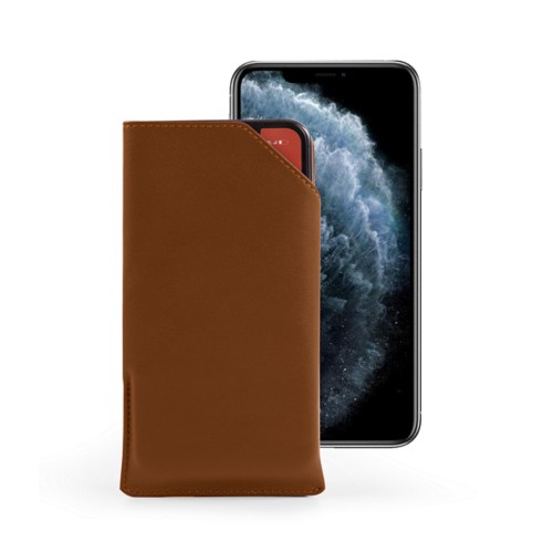 Designer phone case for iPhone 11 Pro Max - Tan - Smooth Leather