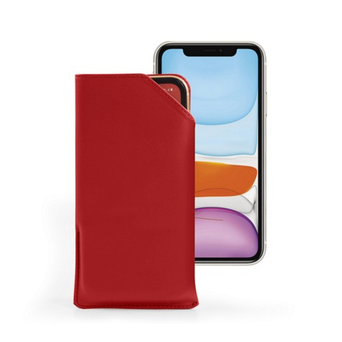 Designer phone case for iPhone 11 - Red - Smooth Leather