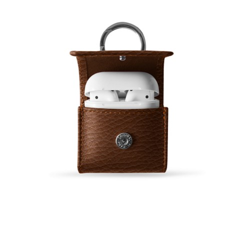 AirPods Case with Carabiner Clip - Tan - Granulated Leather