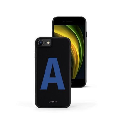 Custom iPhone SE case - Black-Royal Blue - Smooth Leather