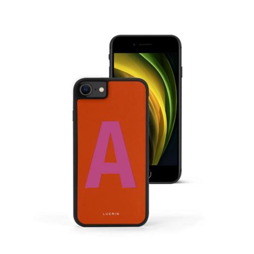 Custom iPhone SE case - Orange-Fuchsia - Smooth Leather