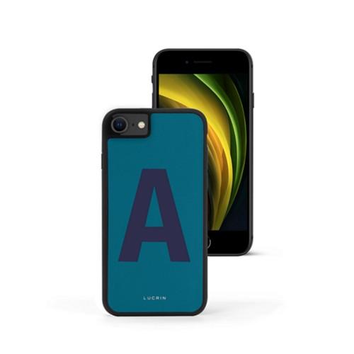 Custom iPhone SE case - Turquoise-Navy Blue - Smooth Leather