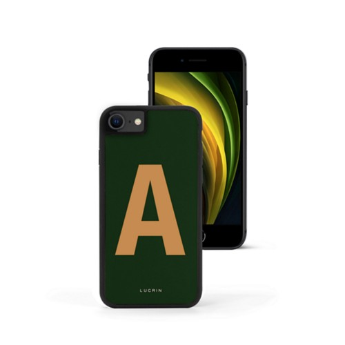 Custom iPhone SE case - Dark Green-Natural - Smooth Leather