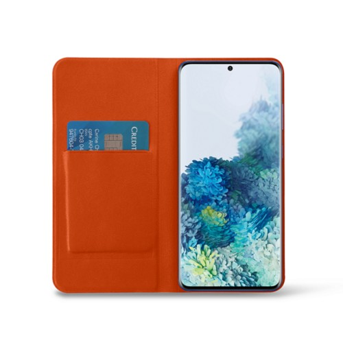 Samsung Galaxy S20+ Slim Wallet Case - Orange - Smooth Leather