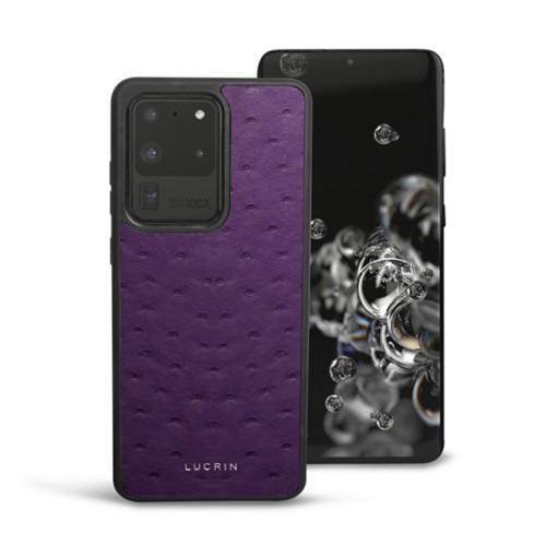 Cover voor Samsung Galaxy S20 Ultra - Paars - Echt Struisvogelleer