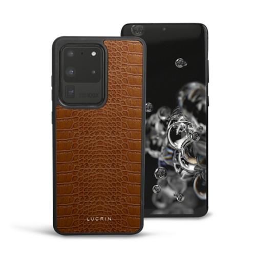 Cover voor Samsung Galaxy S20 Ultra - Camel - Krokodilstijl Kalfsleer