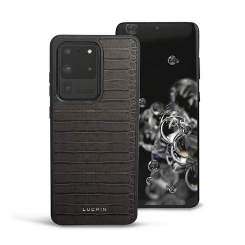 Cover voor Samsung Galaxy S20 Ultra - Muisgrijs - Krokodilstijl Kalfsleer