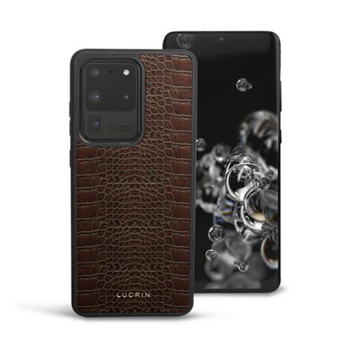 Cover voor Samsung Galaxy S20 Ultra - Donkerbruin - Krokodilstijl Kalfsleer