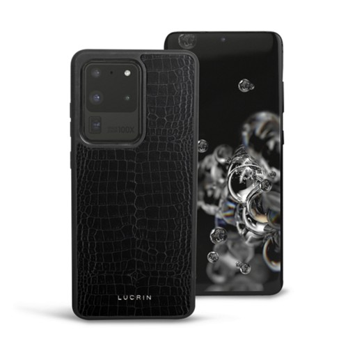 Cover voor Samsung Galaxy S20 Ultra - Zwart - Krokodilstijl Kalfsleer