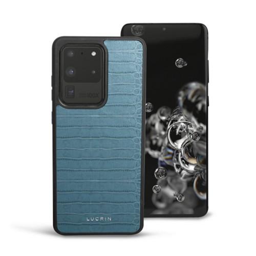 Cover voor Samsung Galaxy S20 Ultra - Turquoise - Krokodilstijl Kalfsleer